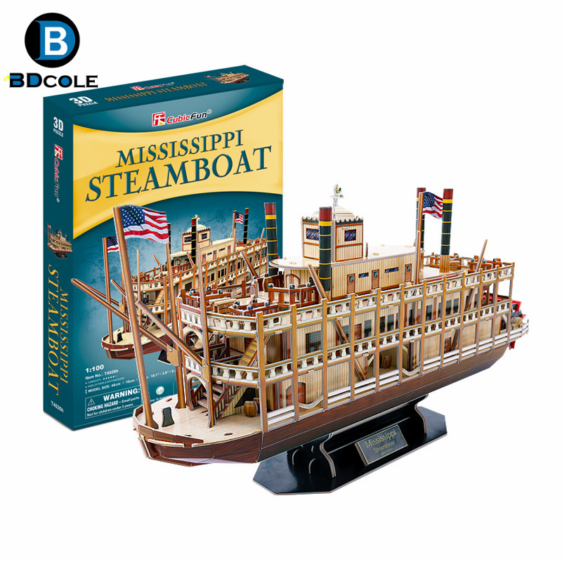 142pcs BDCOLE Mississippi Steamboat 3D Paper Boat Model Kits Toy Wooden Ship Assembly Kit Children's Day Gift(China (Mainland))