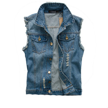 2016 New Fashion Mens Denim Vest Vintage Sleeveless washed jeans waistcoat Man Cowboy ripped Jacket Plus Size 5XL Asian,EDA176(China (Mainland))