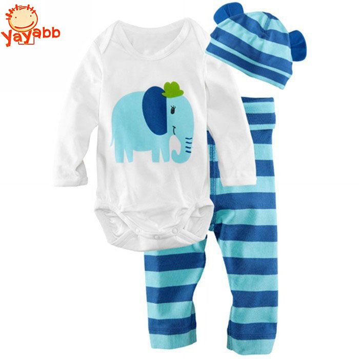 2016 Hot Newborn Baby Boy Clothing Set (Romper+Hat+Pants 3 pcs) Infant Baby Boys Clothes Babies Rompers Roupas Bebes(China (Mainland))