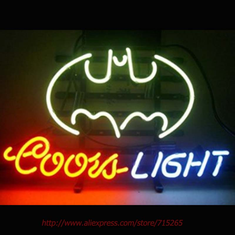 COORS LIGHT BATMAN Neon Sign Bat Neon Bulbs Real Glass Tube Decorate Beer Pub Led Neon 36 Tube Glass Indoor Cool Neon Lamp 17x14(China (Mainland))