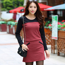 2015 autumn style Ladies dress patchwork O neck mini High quality women brand casual dresses hot  Selling(China (Mainland))