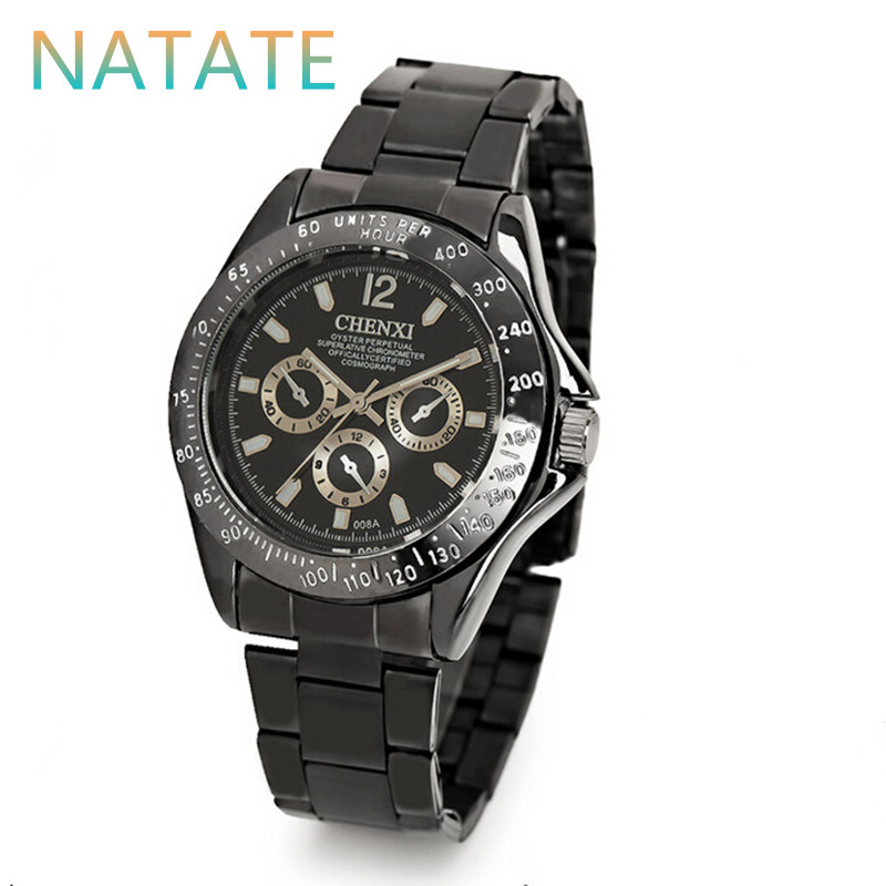 NATATE Men The trend Fashion Brand CHENXI Waterproof Watch Luxury Stainless Steel Business Quartz Clock Wrist Sports Watch 1240(China (Mainland))