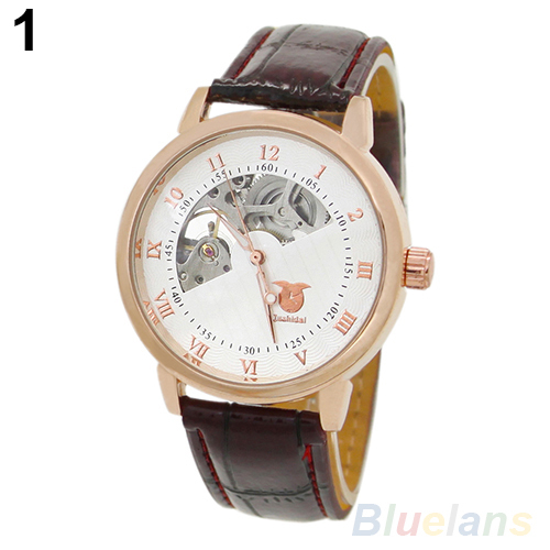 Men Mechanical Skeleton Dial Stainless Steel Case Faux Leather Band WristWatches 2KJ8