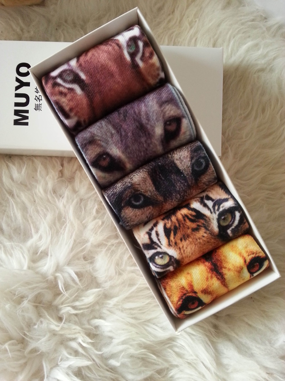 Animal fierce beast print socks 2 long and 3 ankle socks valuable gift bag set pure cotton socks birthday gift present(China (Mainland))