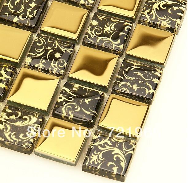 Golden glass mosaic tiles mirror kitchen backsplash tile SSMT236 bathroom glass mosaic tile free shipping<br><br>Aliexpress
