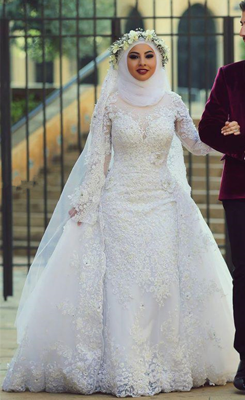 Modest High Collar Hijab Wedding Dresses Full Sleeve Floor Length A Line White Tulle Lace Wedding Gowns(China (Mainland))