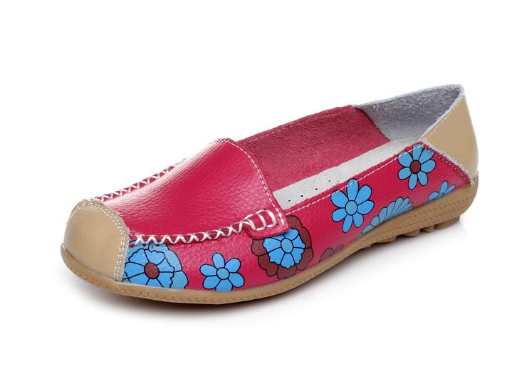 2015 spring women flat shoes t leather printing round head doug  lazy man shoes plus size soft bottom mother flat shoes