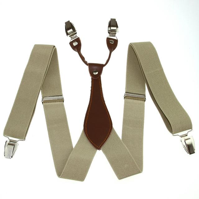 Новый мужской подтяжки брекеты мужская регулируемая металл Clip - на твердых бежевых-xl ...