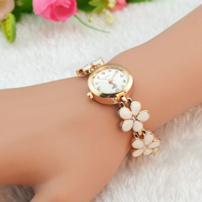 Feitong Fashion Daisies Flower Rose Gold Bracelet Wrist Watch Women Girl Gift Wholesales(China (Mainland))