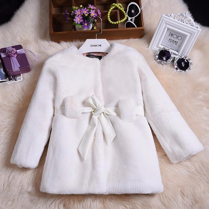Скидки на 2016 Зима детская одежда из искусственного меха кролика пальто большие дети девушка пушистый пальто детские меховые пальто