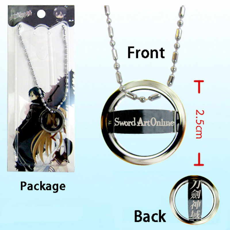Sword Art Online SAO vintage chain Necklace black rotatable pendants floating charms men women cosplay jewelry gift(China (Mainland))