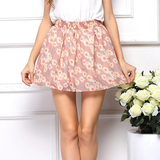 Pleated High Waist New 2014 Summer American Apparel Print Women Tutu Saia Chiffon Skirts Sheer Short Skirt Female 7 Colors(China (Mainland))