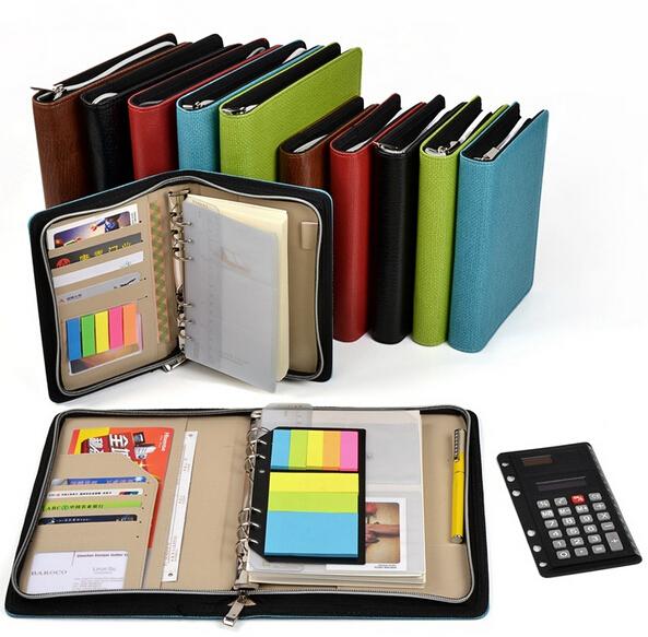 leather spiral notebook A5/A6 Zipper agenda planner organizer,Multi-function notebook Bring a calculator Business notebook book<br><br>Aliexpress