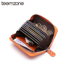 Buy Trend Multi-Card Slots Womens Mens Unisex Genuine Leather Fashion Credit ID Card Holder Case Wallet Cover Zipper Card Holder for $13.50 in AliExpress store