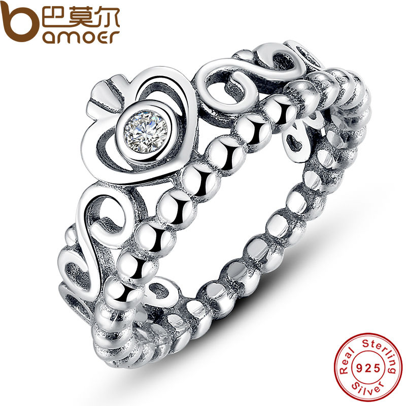 BAMOER 925 Sterling Silver My Princess Queen Crown Stackable Ring with Clear CZ Authentic Jewelry PA7110(China (Mainland))
