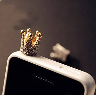 Fashion Cell Phone Charm Accessories Dust Plug Gold Plated Crown mobile cell phone plug charms SP013(China (Mainland))