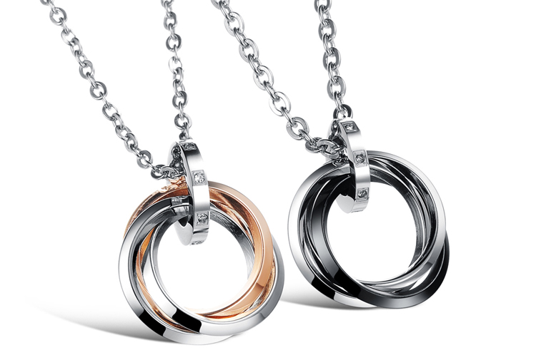 Fashion Lovers Jewelry Titanium Stainless Steel Charm Three Circle Pendants Couple Necklaces Valentine's Day Love Gifts jewelry(China (Mainland))