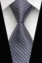 NT0461 Gray Striped Classic Silk Polyester Blend Smooth Man s Casual Jacquard Woven Necktie Business Knitted