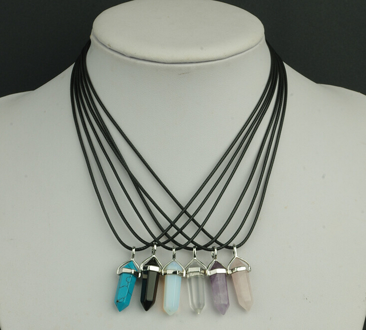 2015 Fine Jewelry Hexagonal Column Necklace Natural Quartz turquoise Agate Amethyst Stone Pendant Rope Necklace For Women(China (Mainland))