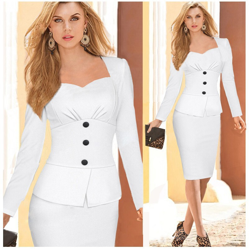 Womens Dresses 2015 Long Sleeve Bandage Bodycon Pencil Dress White Grey Plus Size Woman Office Dress Work Wear Robe Vestidos(China (Mainland))