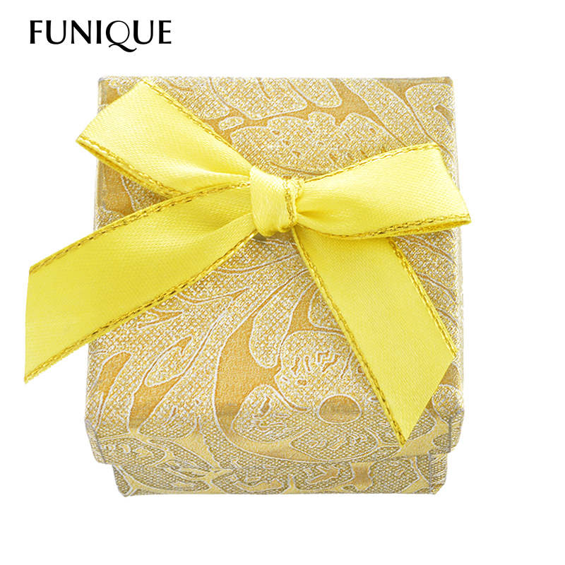 FUNIQUE Fashion Ribbon Jewelry Ring Boxes Earrings Pendant Box Display Packaging Christmas Gift Box Wedding Favor Holder 2016(China (Mainland))