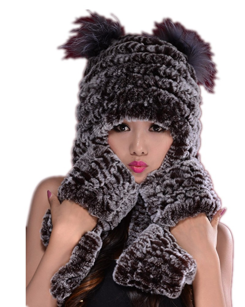 H347-autumn winter women's Rex rabbit fur hat with ear protector,black brown thicken hand knit fur hat scarf gloves(China (Mainland))