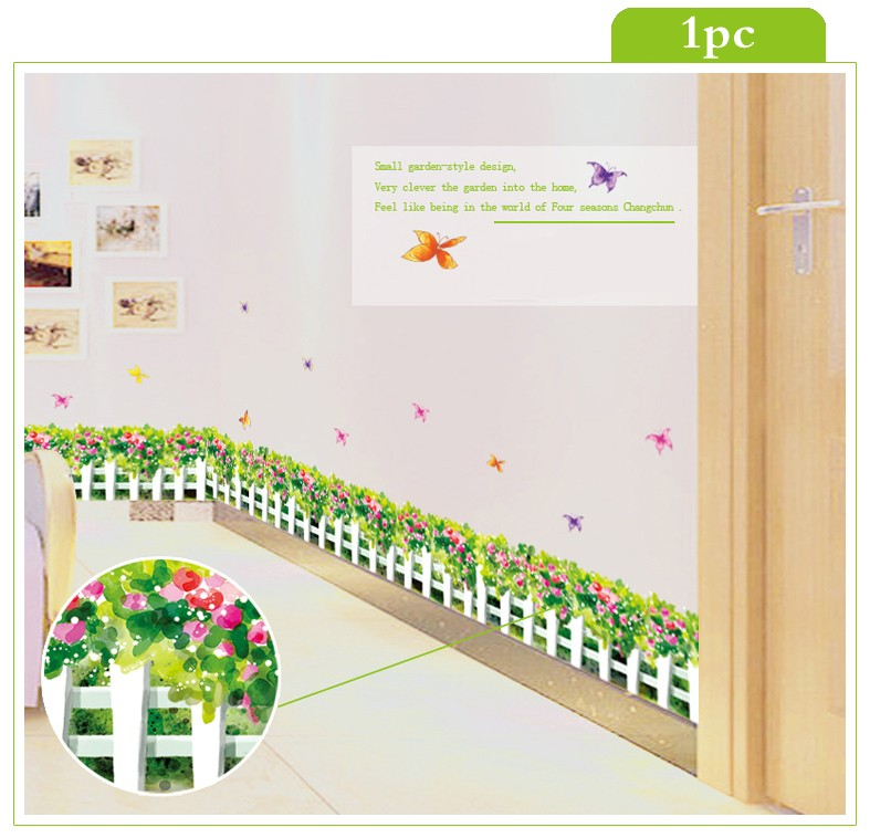 Hot 24 styles Skirting Wall Stickers Decal Removable Vinyl Waterproof Home Decal Nursery Kids Baby Room Bathroom Plant Art Mural