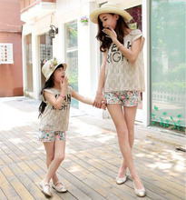 2015 summer new parent-child attire lace short sleeve T shirt camisole floral printed shorts o-neck for mom or kids 3pieces set(China (Mainland))