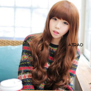 Repair package bangs long curly hair wig fashion long roll of qi liu bulkness women's wig