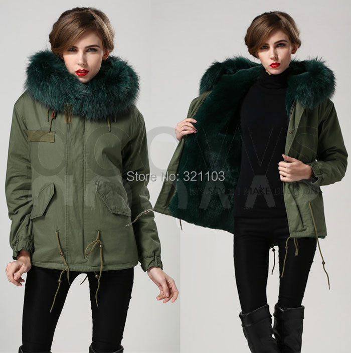 womens jackets 2016 emerald green Mrs fur Coats Fur Hooded Slim Fit Parka Jacket - foxfurs store