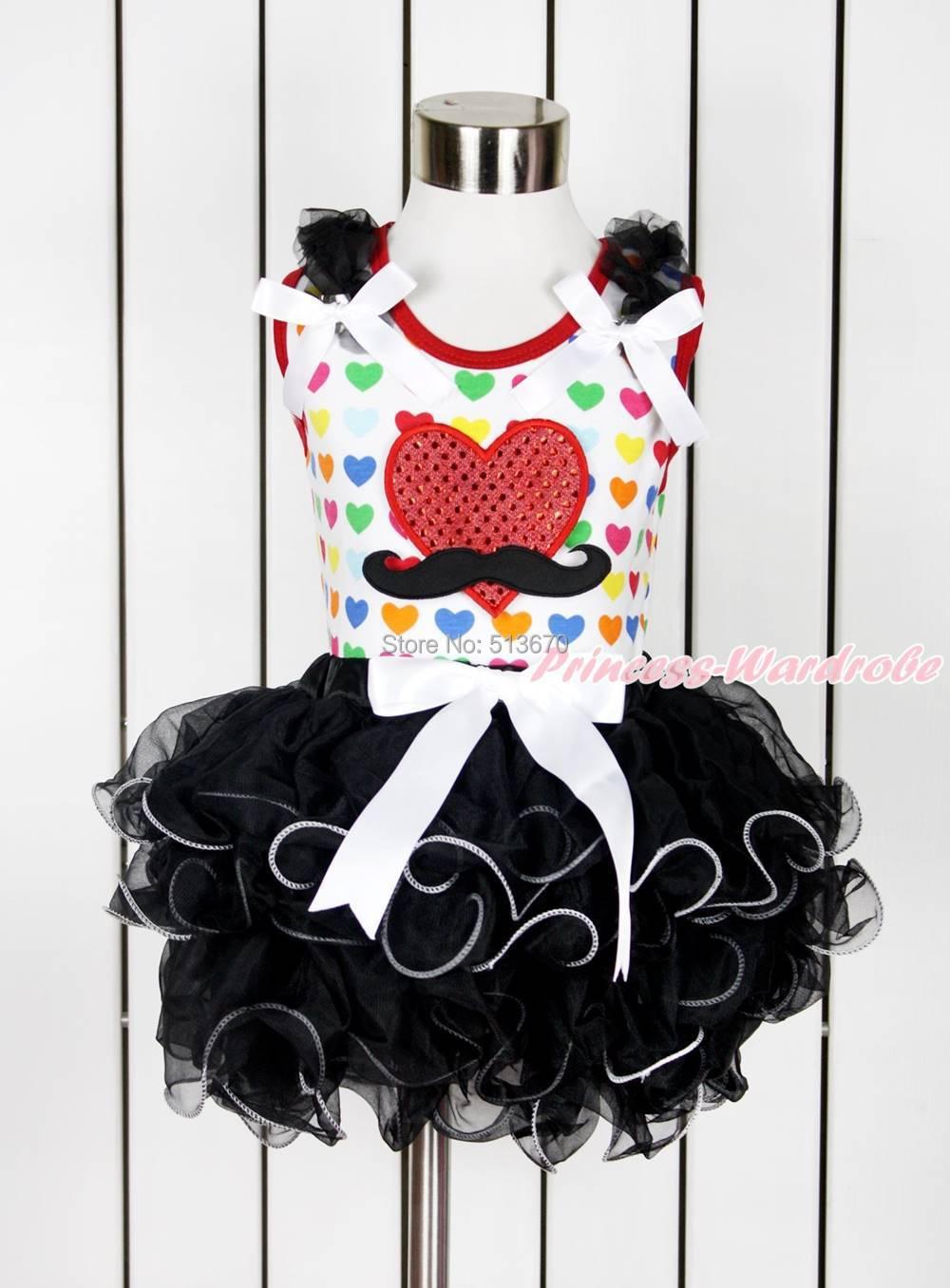 Valentine Mustache Red Heart Rainbow Heart Top Girl Black Petal Pettiskirt NB-8Y MAPSA0120(Hong Kong)