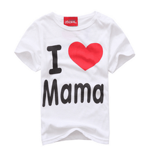 Simple letter love mom and dad baby cotton short sleeved T-shirt ATST0015(China (Mainland))