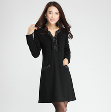 Big size one-piece dress autumn and winter  long-sleeve big size big size 2013 autumn elegant(China (Mainland))
