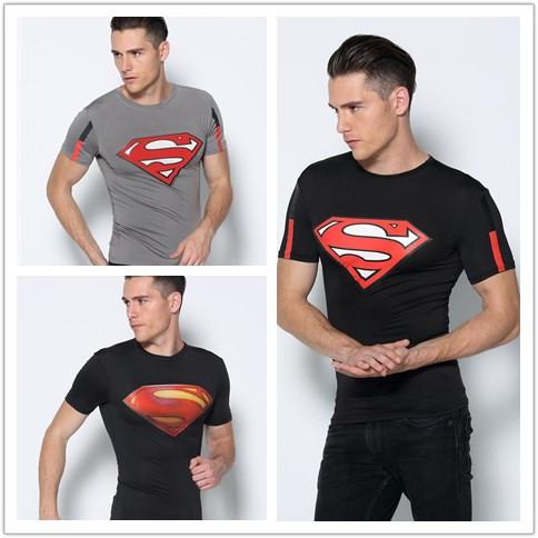Superman Compression shirt Short Sleeve Fitness T Men Sport Gym Bodybuilding Basketball Tee Shirts Jersey