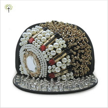 Hip Hop Lipstick Model Mirror Beads Chain Faux Pearls Snapback Caps With Rivets Visor(China (Mainland))