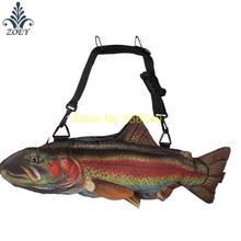 Red Trout Fish Bag Colorful Seafish Messenger Bag Creative 3D Fish Sling Bag