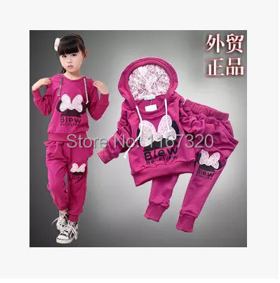 factory outlet 3-10 years children 2 pcs suit Cartoon Minny girl clothing set hoodie+pants autumn baby set Retail Free shipping(China (Mainland))
