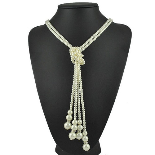 1 Set/lot New Style Long Glass Imitation Pearl Necklace DIY Wear Imitation Pearl Beads Long Necklaces for Woman Jewelry K03381(China (Mainland))
