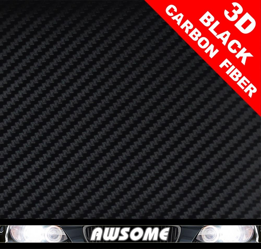 50x100cm Car styling Whole Body Roof Bumper 3D Carbon Fiber Vinyl Film Roll Free Bubble Free Black Sticker Wrap AIR(China (Mainland))
