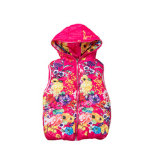 2016 New Arrival High Quality Children's Outerwear Girls Vests Casual Thick Hooded Waistcoats Vest MJ01