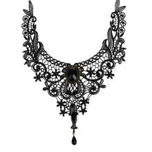 Elegant Handmade Lace Beads Collar Choker Necklace Gothic Vintage Statement for Women Beauty Party Wedding Jewerly Accessories(China (Mainland))