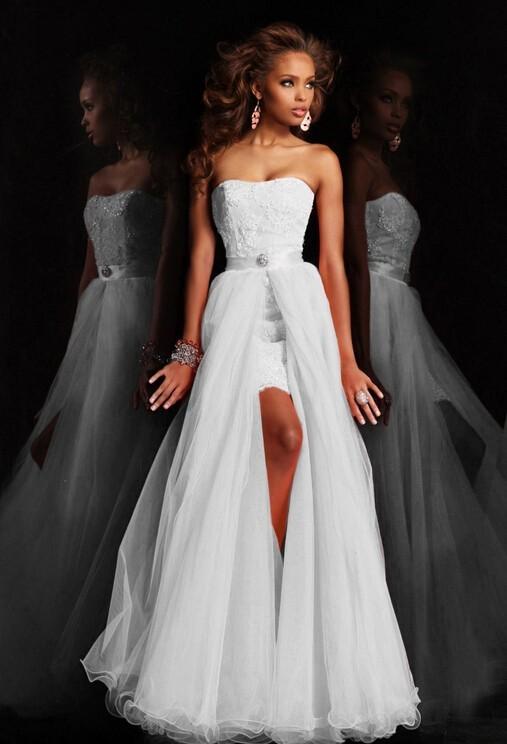 Novo Design de Alta Baixa Curto Strapless Pure White Wedding Dress vestido de Noiva Com Destacável Saia removível de cristal rendas Paetês