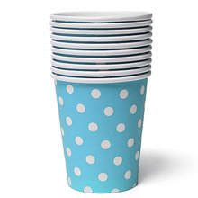 5 pcs 50pcs Polka Dot Paper Paper Cups Case Disposable Tableware Wedding Birthday Decorations Blue(China (Mainland))