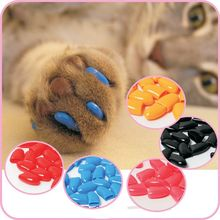 New 20Pcs/Lot Colorful Soft Pet Dog Cats Kitten Paw Claws Control Nail Caps Cover Size XS S M L XL XXL(China (Mainland))