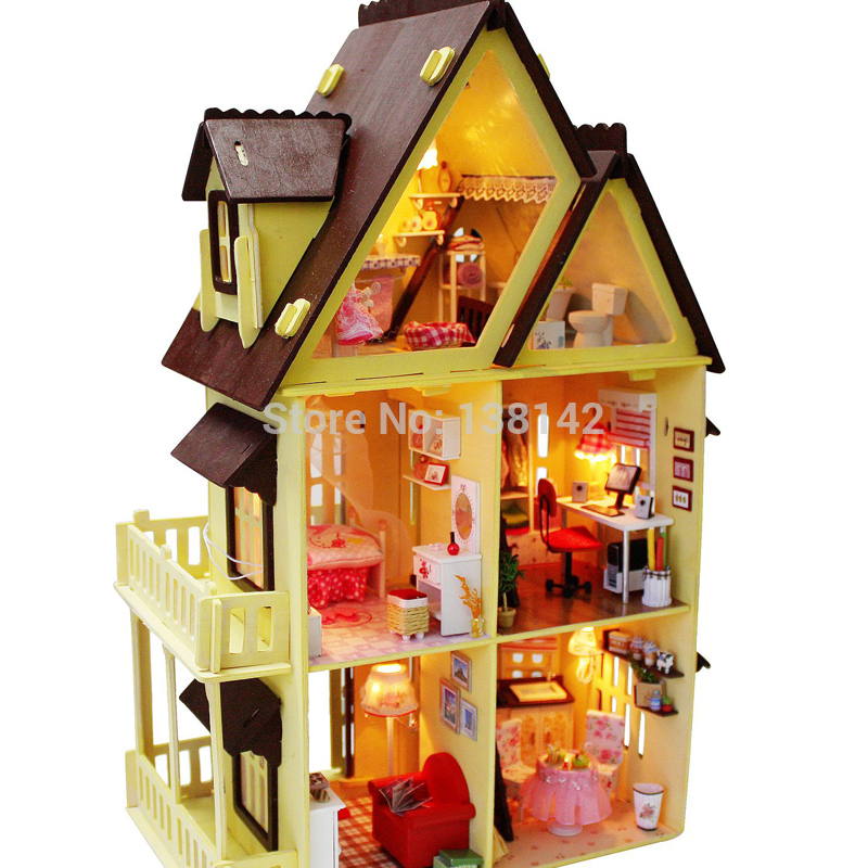13809 Diy Doll House Furniture Handmade Model Building Kits 3D villa Miniature Wooden Dollhouse Toy Gifts - Super toys C T store