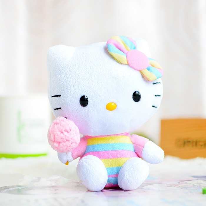 Colored stripes TY Hello Kitty plush toys kawaii doll Kitty cat 15cm cute cartoon stuffed animal girls toy gifts free shipping(China (Mainland))