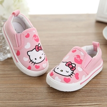 Baby Moccasins Spring Autumn Hello Kitty Heart Girl Shoes Canvas Fashion Newborn Walker Infant Casual Shoes For 0-6 Years Old(China (Mainland))