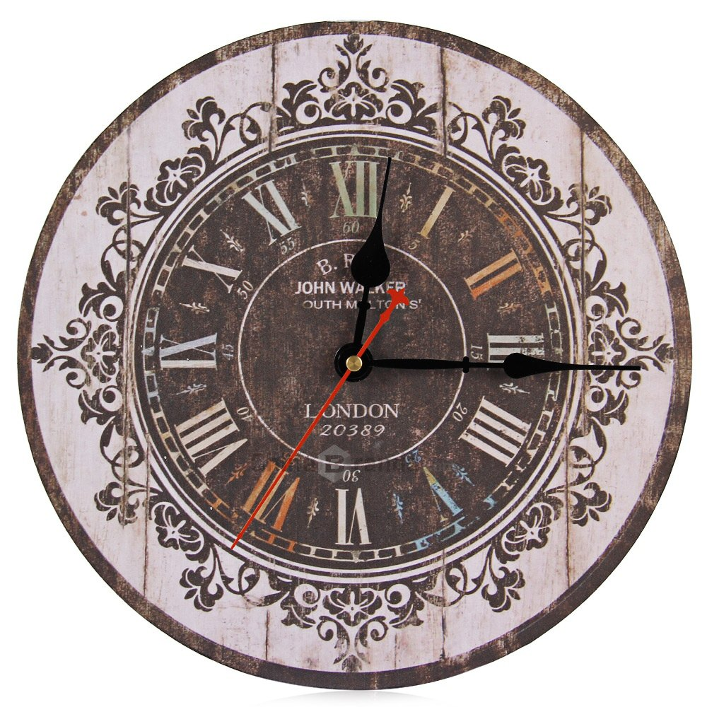 Hot Sale Silent Retro Wooden Decorative Round Wall Clock
