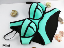 Swimwear Women Fashion Neoprene Bikini Woman New Summer 2015 Sexy Swimsuit Bath Suit Push Up Bikini