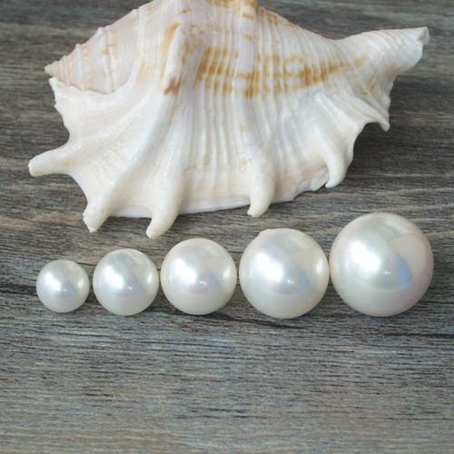 SUPER SAMPLE PACK 8/10/12/14/16mm white sea shell pearl round ball beads, half-drilled loose beads for pendant/earrings/rings(China (Mainland))